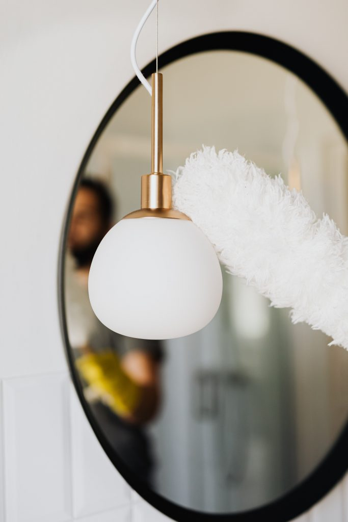 white round pendant lamp turned off 4239038