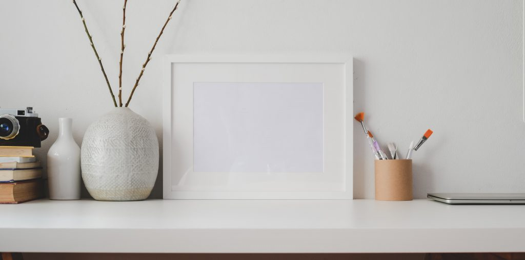 white wooden frame on white flat board 3773407