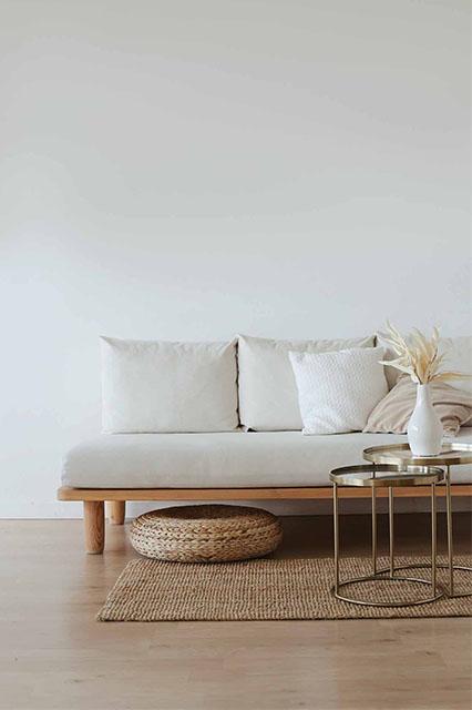 Scandinavian design light couch warm wood