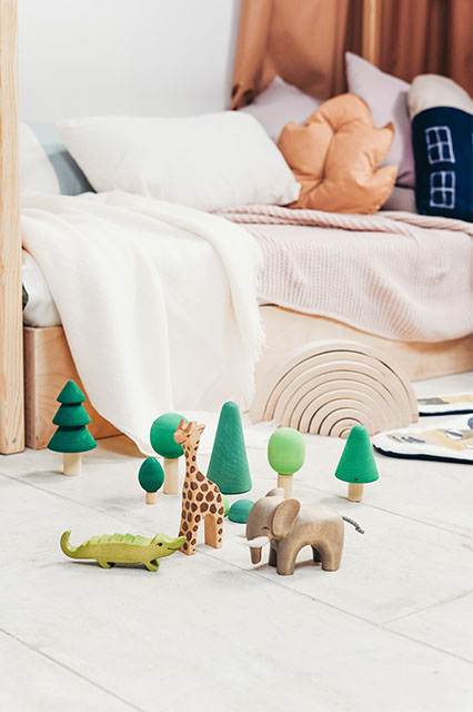 kids wood toys and decoration
