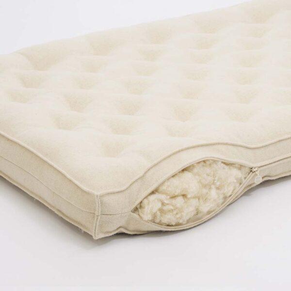 wool crib mattress thin red stripe