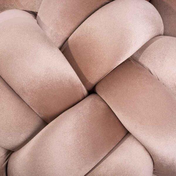 Velvet rose gold knot pouf handmade detail1