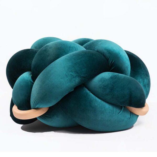 Velvet turquoise colour handamede kont pouf