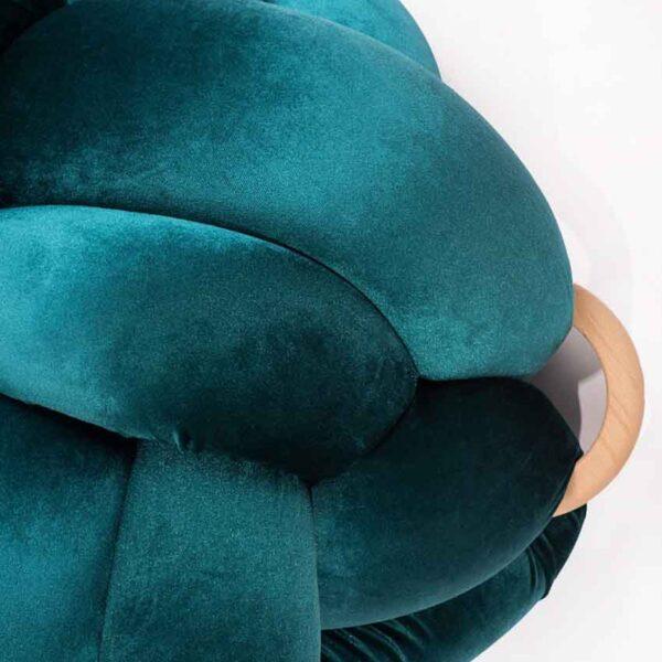 Velvet turquoise colour handamede kont pouf detail