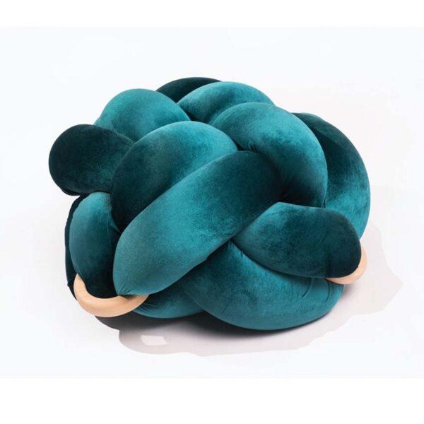 Velvet turquoise colour handamede kont pouf detail1