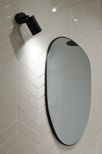 chevron accent wall bathroom beige