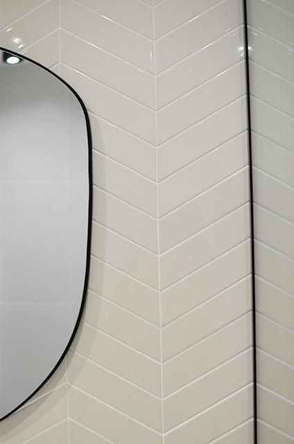 chevron tiles pattern bathroom beige