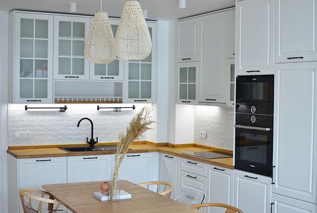 kitchen metro tiles white boho